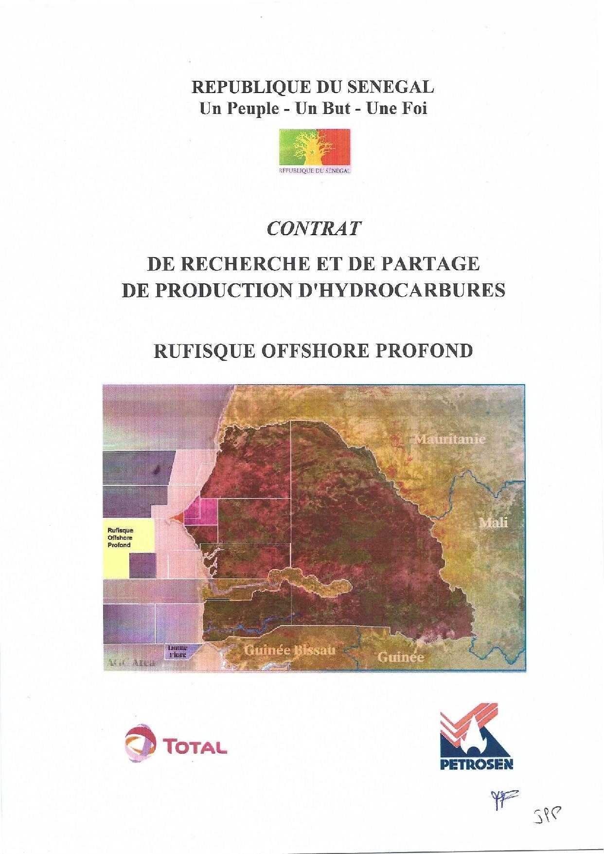 """Contrat de recherche et de partage de production d'hydrocarbure """" Rufisque Offshore"""" entre l'Etat du Sénégal et Total (Intégralité)"""