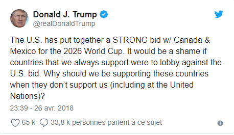 Mondial 2026 : Trump met la pression !