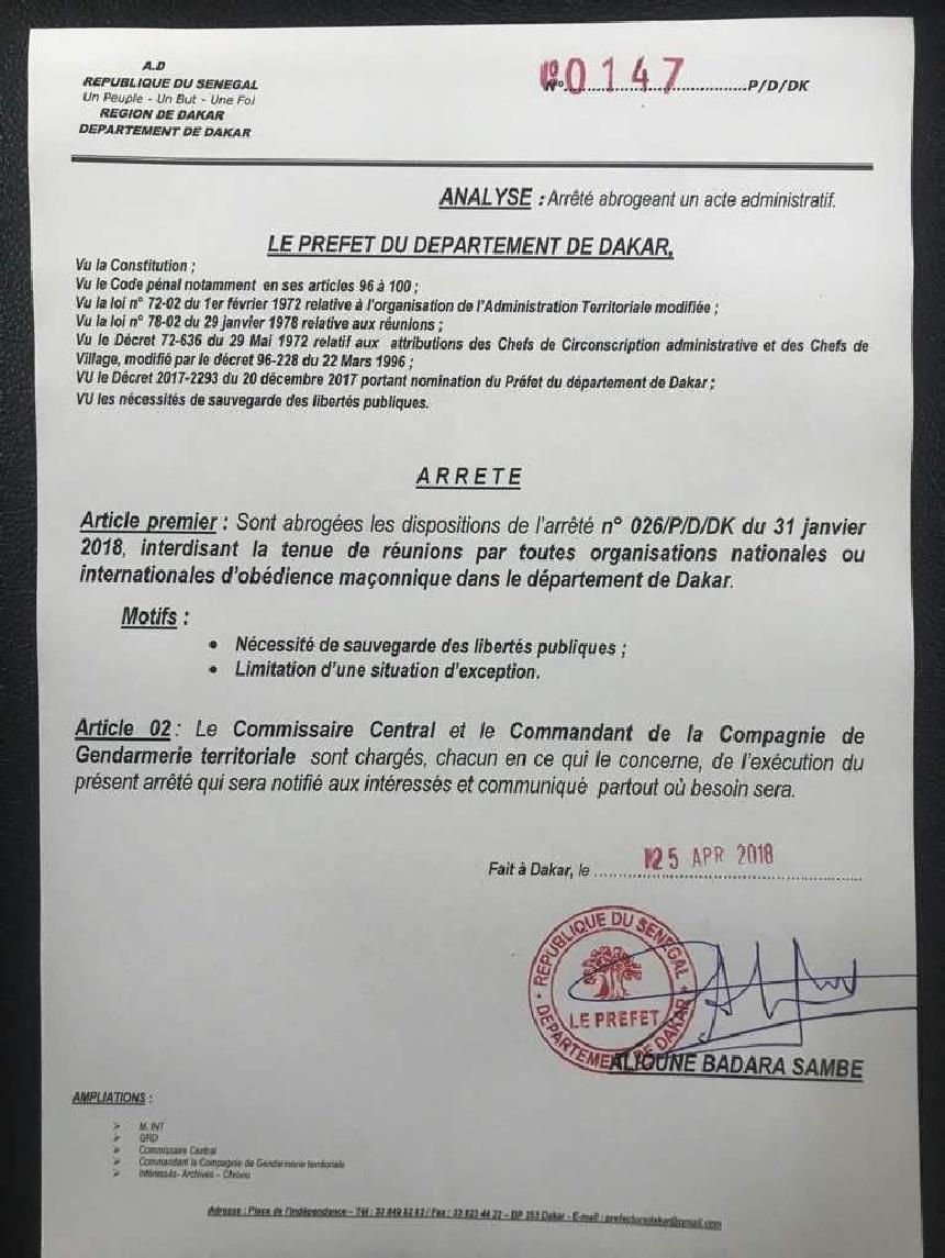 Les Francs-maçons peuvent désormais se rencontrer à Dakar