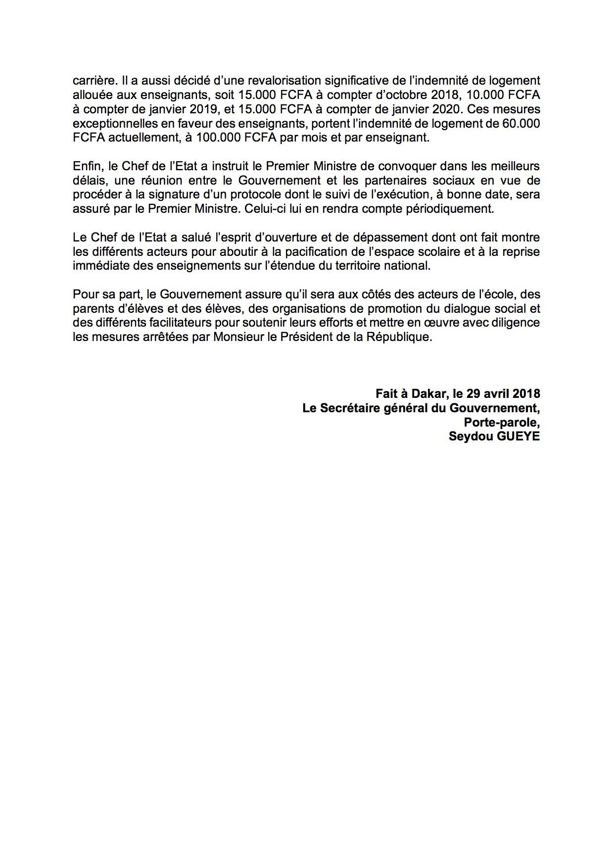 Documents - Le G 6 décide de suspendre son mot d'ordre : Dénouement de la crise scolaire, Macky Sall sauve le Sénégal d'une année blanche