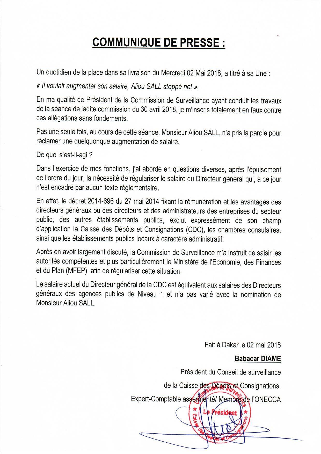 Intox sur le salaire d'Aliou Sall : les précisions de Babacar Diamé, le Président du Conseil de surveillance de la Caisse et Dépôt et Consignations