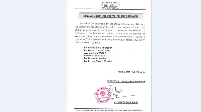 Communiqué du préfet de Dakar : les opérations de décongestion des axes routiers desservant le Port de Dakar, se poursuivent