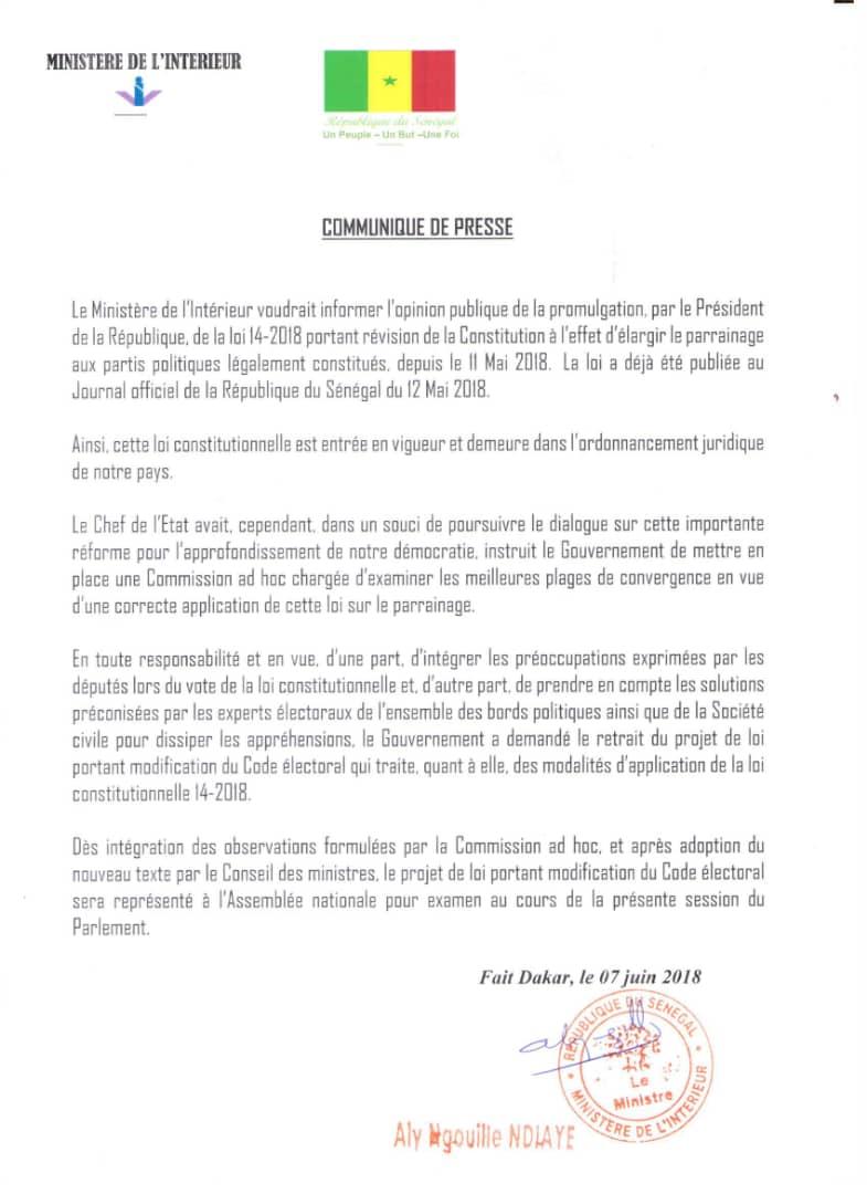 Les précisions du ministre de l'Intérieur: « La loi sur le parrainage était accompagnée d'une modification du Code électoral, mais elle est déjà promulguée... »