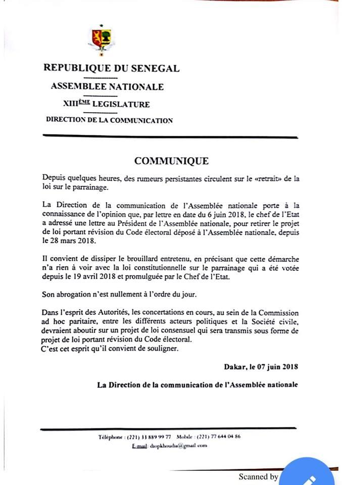 Retrait du projet de loi portant révision du Code électoral : Moustapha Niasse réagit
