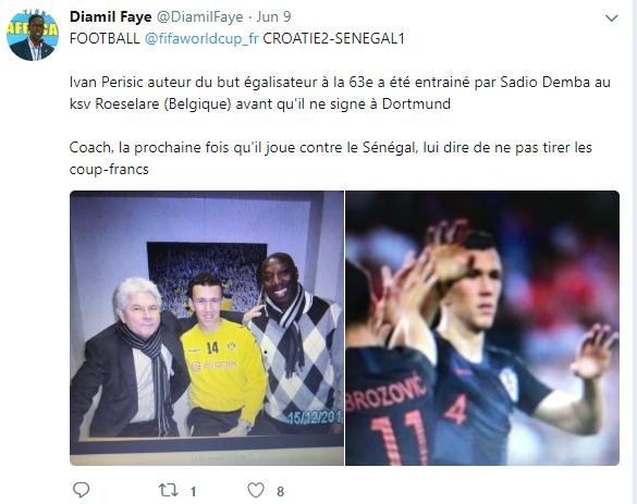 Le tweet de Djamil Faye sur le Croate