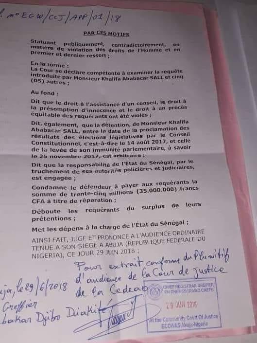 Khalifa Sall gagne son procès contre l'État du Sénégal devant la Cour de justice de la Cedeao (document)