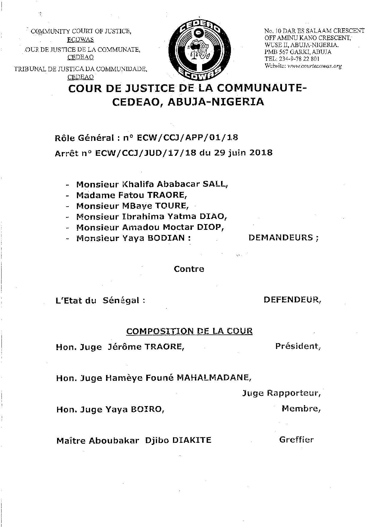 Exclusif : L'arrêt de la Cour de justice de la Cedeao sur l'affaire Khalifa Sall (document PDF)