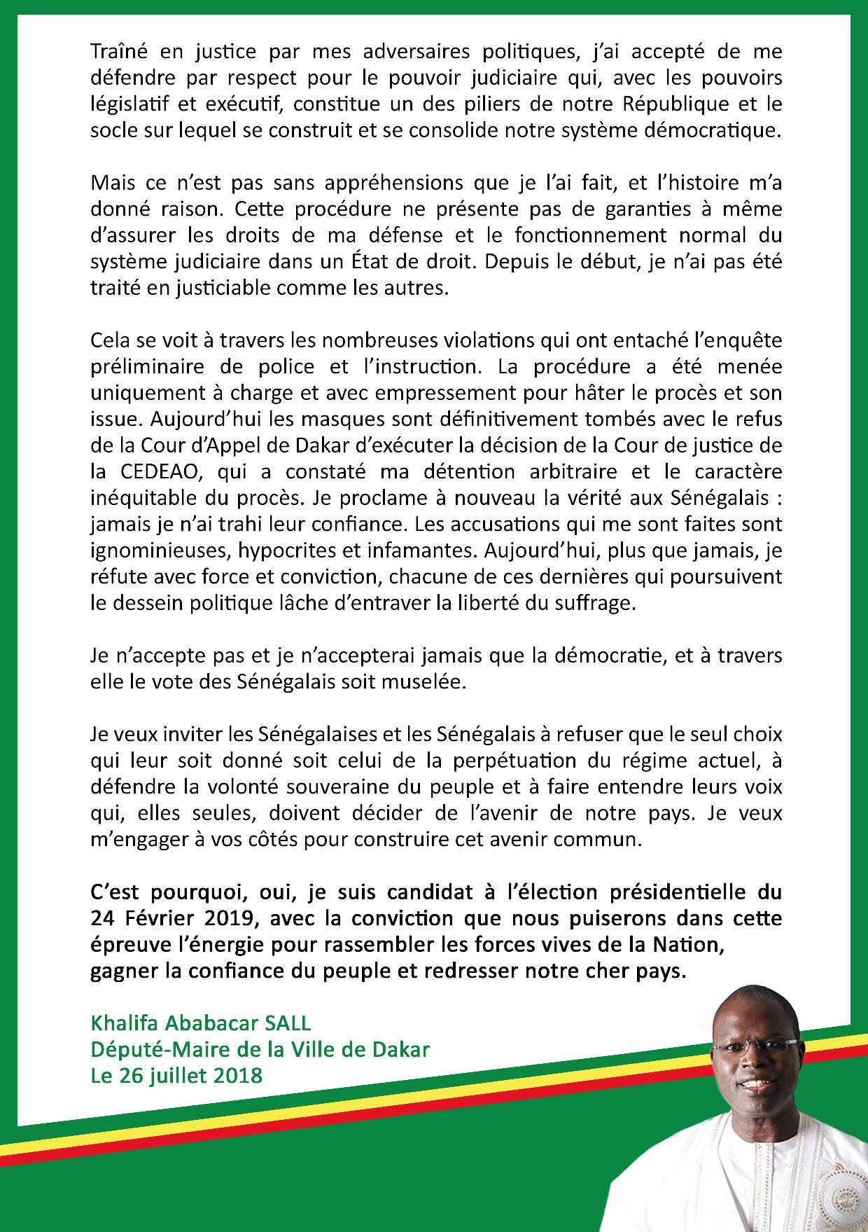 """URGENT - Khalifa Sall franchit le Rubicon : """"Je suis candidat à l'élection présidentielle du 24 février 2019"""""""