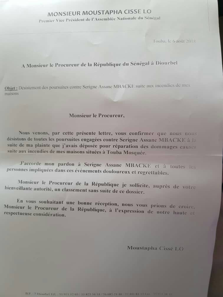Affaire Assane Mbacké : Moustapha Cissé Lô écrit au procureur de la République ( Document)