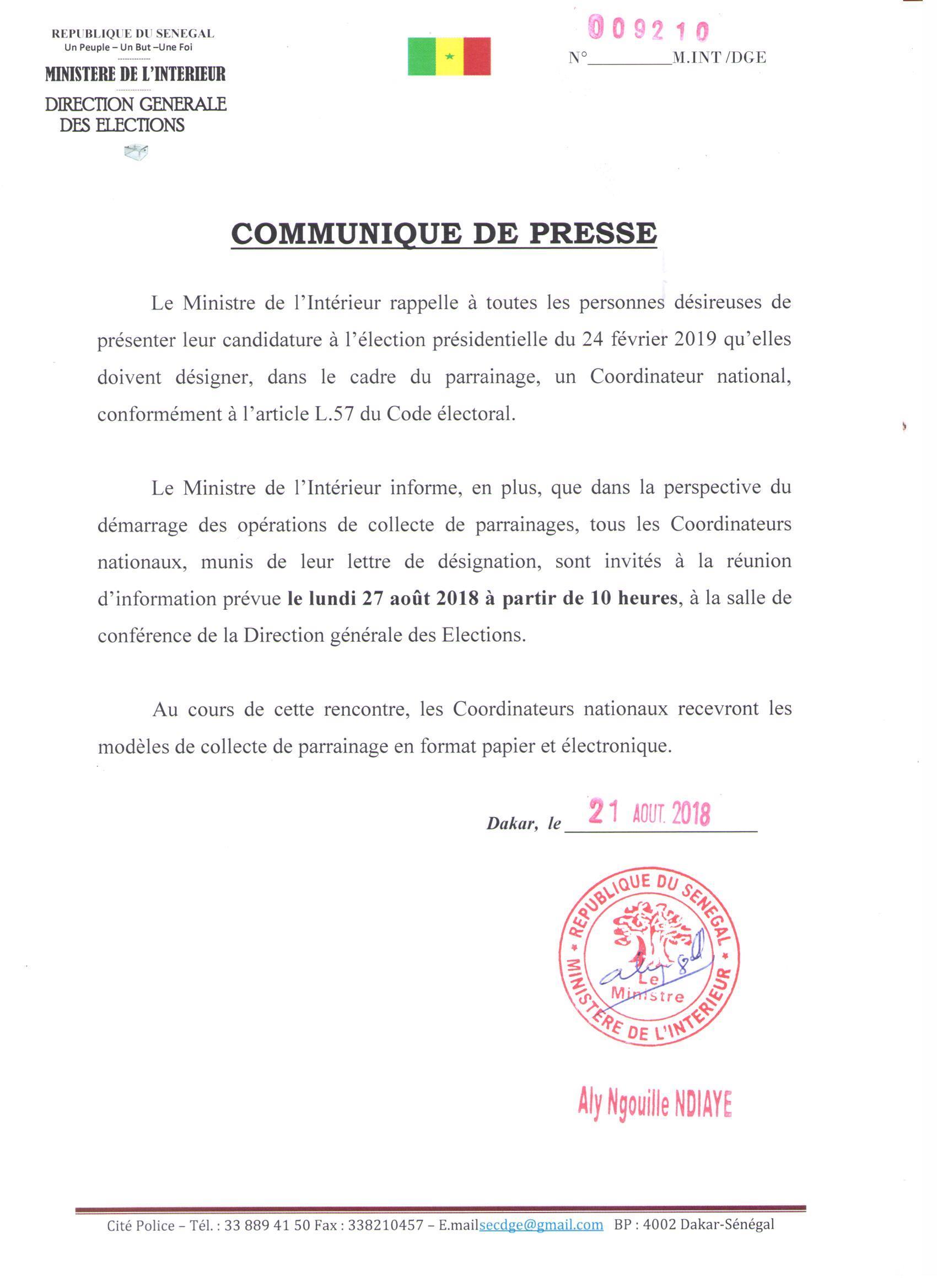 Parrainage : Le Ministre de l'Intérieur invite les personnes désireuses de prendre part à la présidentielle de 2019 à désigner leurs Coordonnateurs nationaux