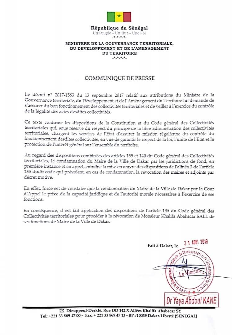 URGENT : Khalifa Sall révoqué de ses fonctions de Maire de Dakar par décret 2018-1701 (documents)