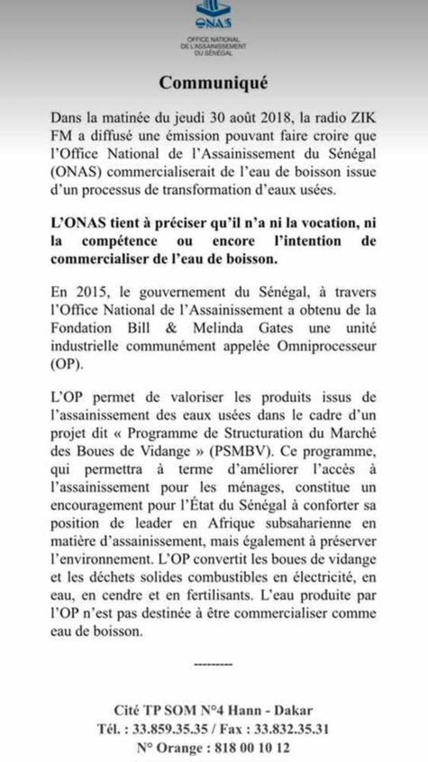 Le Sénégal n'a ni la vocation, ni la compétence de commercialiser de l'eau de boisson issue des eaux usées