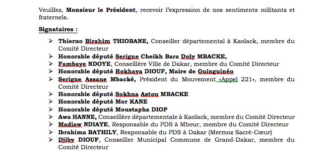 Risque de rejet de la candidature de Karim Wade: Voici la lettre des élus libéraux, envoyée à Wade