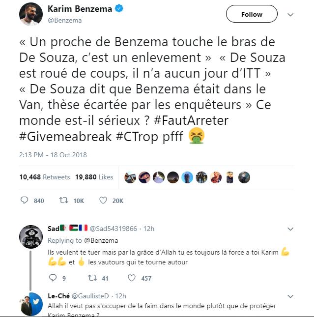 """La réponse de Benzema aux révélations de Médiapart : """"ce monde est-il sérieux ?"""""""