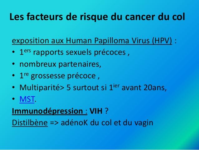 Les facteurs de risque du cancer du col de l'utérus