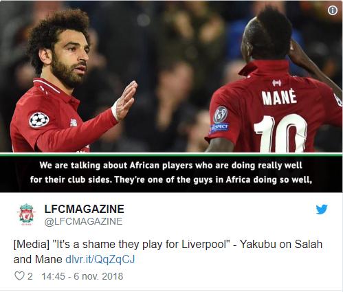 Yakubu: « Sadio Mané et Mohammed Salah sont les meilleurs joueurs africains… »