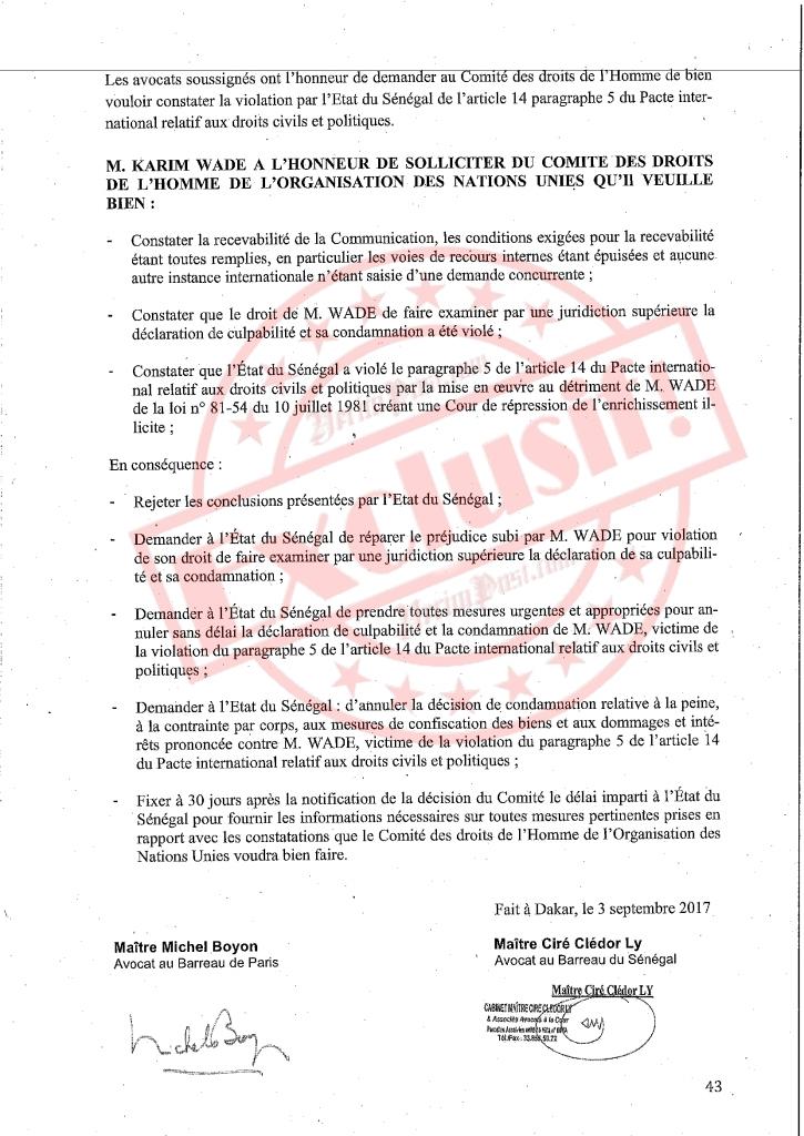 Exclusif! Ces demandes de Karim Wade rejetées par le Comité des droits de l'homme de l'Onu