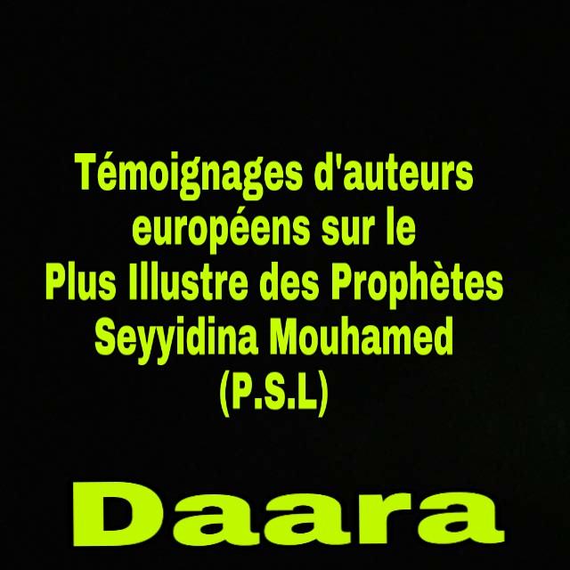 Témoignages d'auteurs européens sur le plus illustre des prophètes, Seydina Mouhamed (s.a.w)