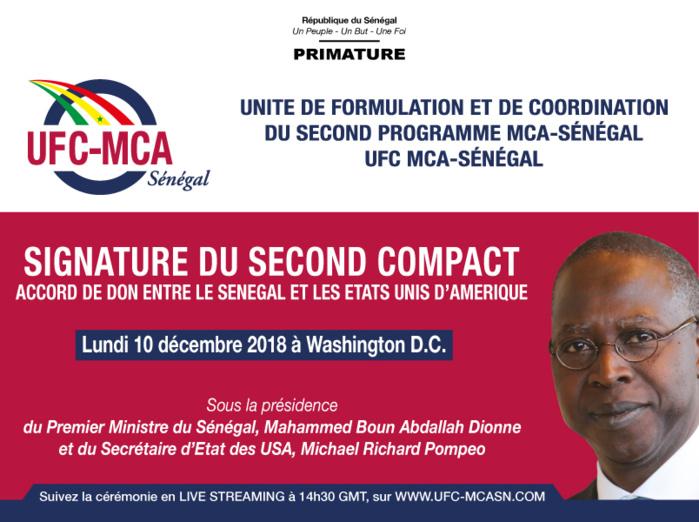 Le Premier Ministre à Washington le 10 décembre 2018 pour la signature du second Compact entre le Sénégal et les Etats-Unis