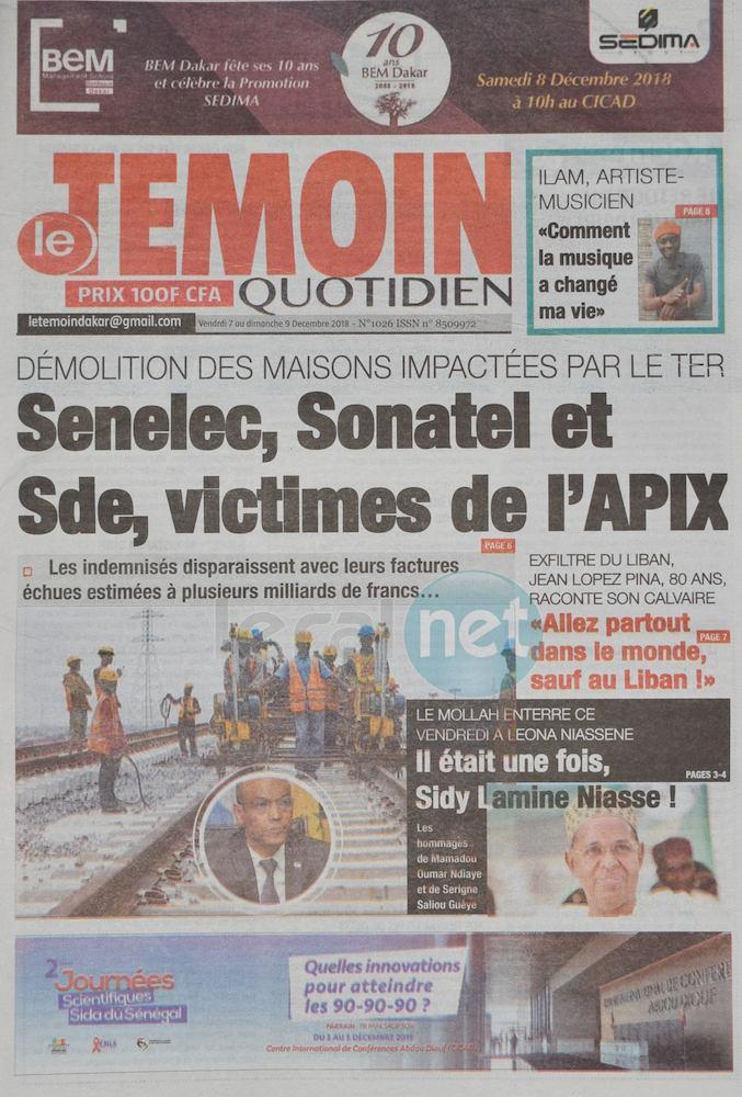 Voici les UNES des journaux du vendredi 07 Décembre 2018 www.leral.net