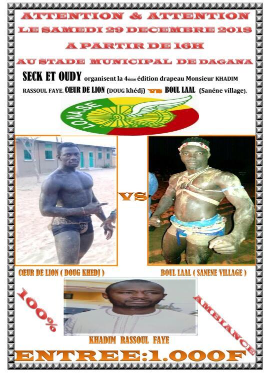Dagana : Drapeau Khadim Faye entre Cœur de Lion et Boul Laal ce 29 décembre
