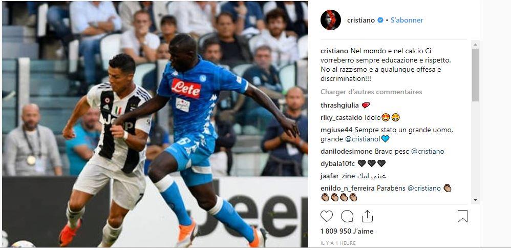 Cristiano Ronaldo prend la défense de Kalidou Koulibaly et fustige le racisme