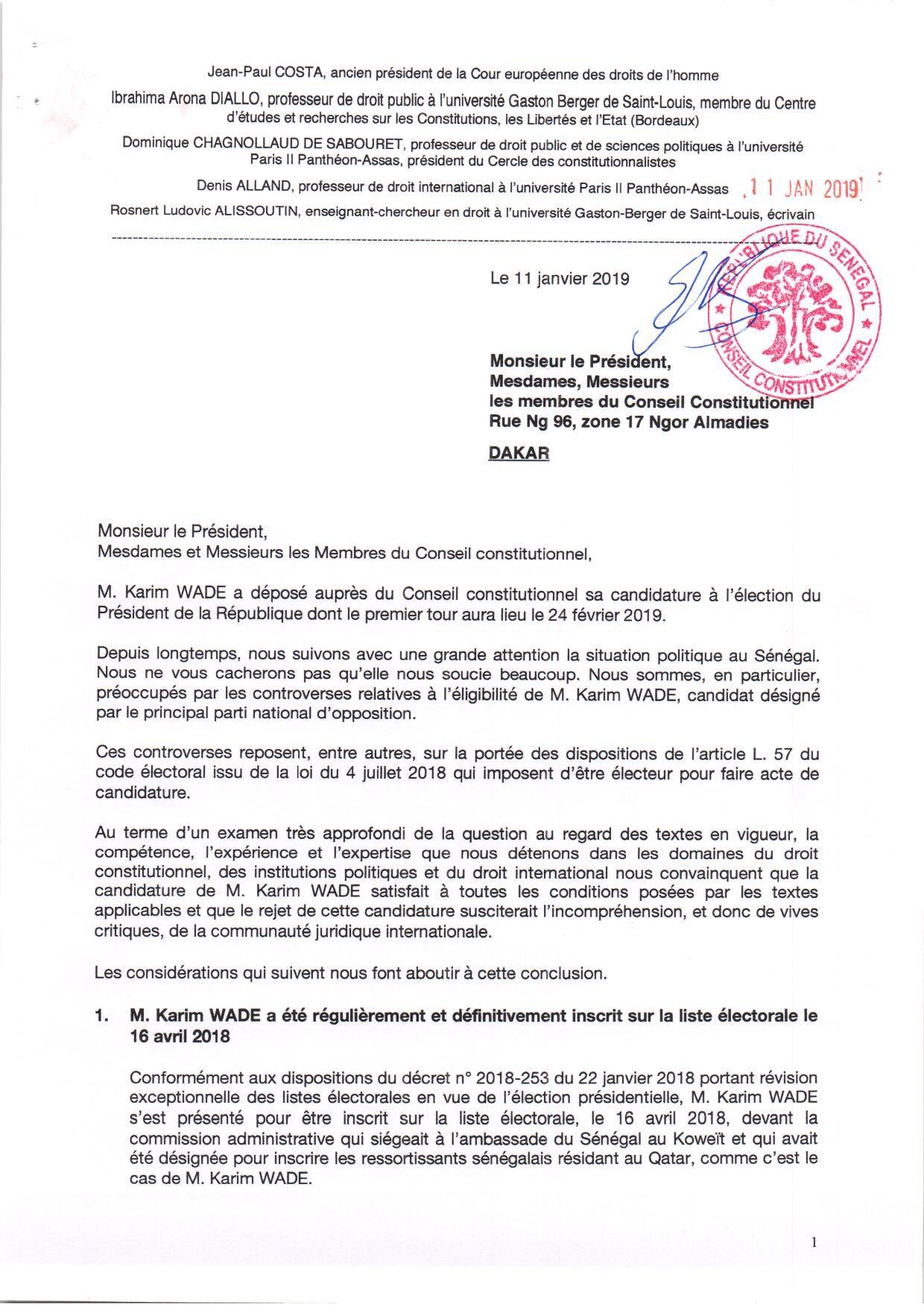 Candidature de Karim Wade: D'éminents juristes nationaux et internationaux écrivent au conseil constitutionnel