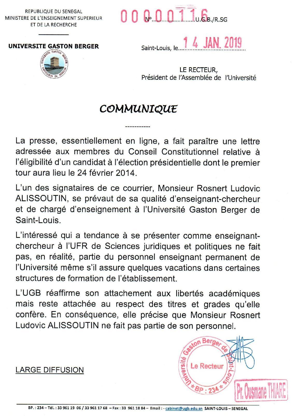 Précision de l'Université Gaston Berger (UGB) : Monsieur Rosnert Ludovic Alissoutin ne fait pas partie du personnel