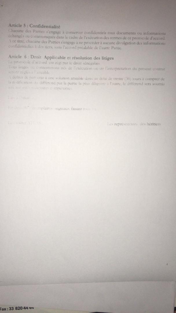 Protocole d'accord entre le cabinet ATLAS sarl et les Héritiers du titre foncier 1451/R (documents)