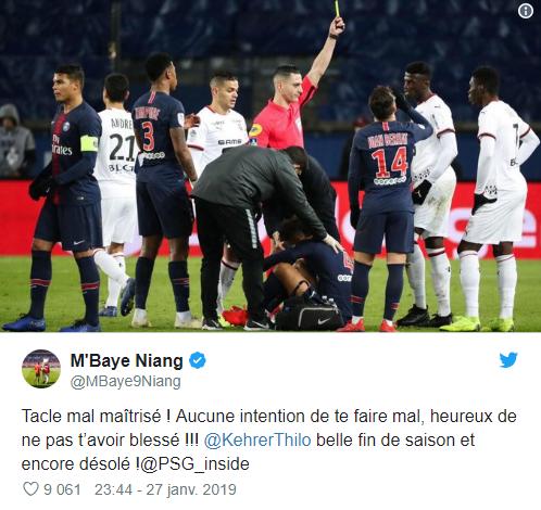 PSG-Rennes : Auteur d'un gros tacle sur Kehrer, Mbaye Niang s'excuse