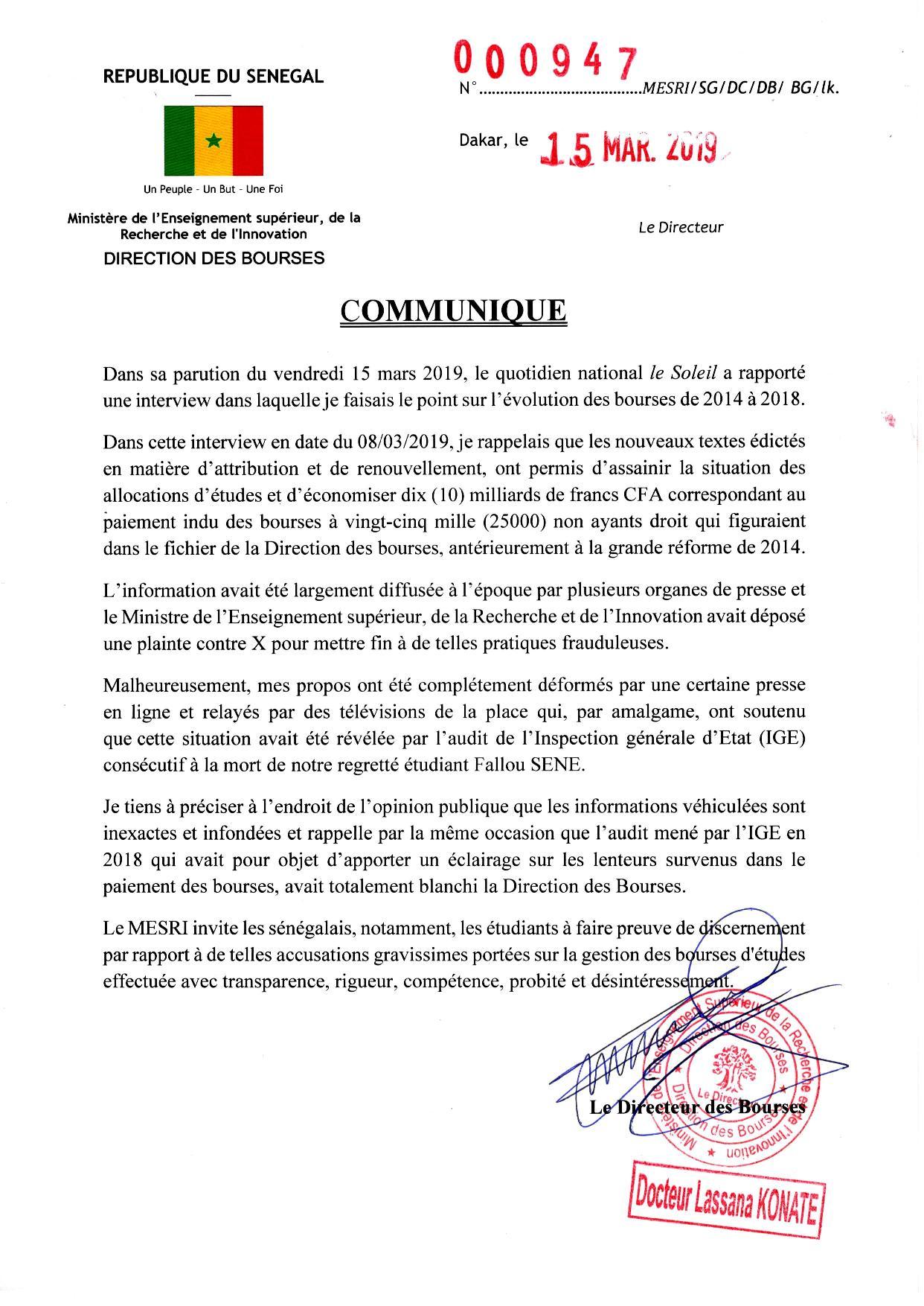 Bourses d'étudiants: Lassana Konaté accuse la presse d'avoir déformé ses propos (document)