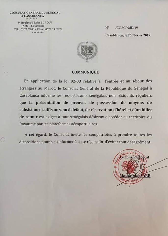 Nouvelles conditions d'entrée au Maroc y compris pour les Sénégalais