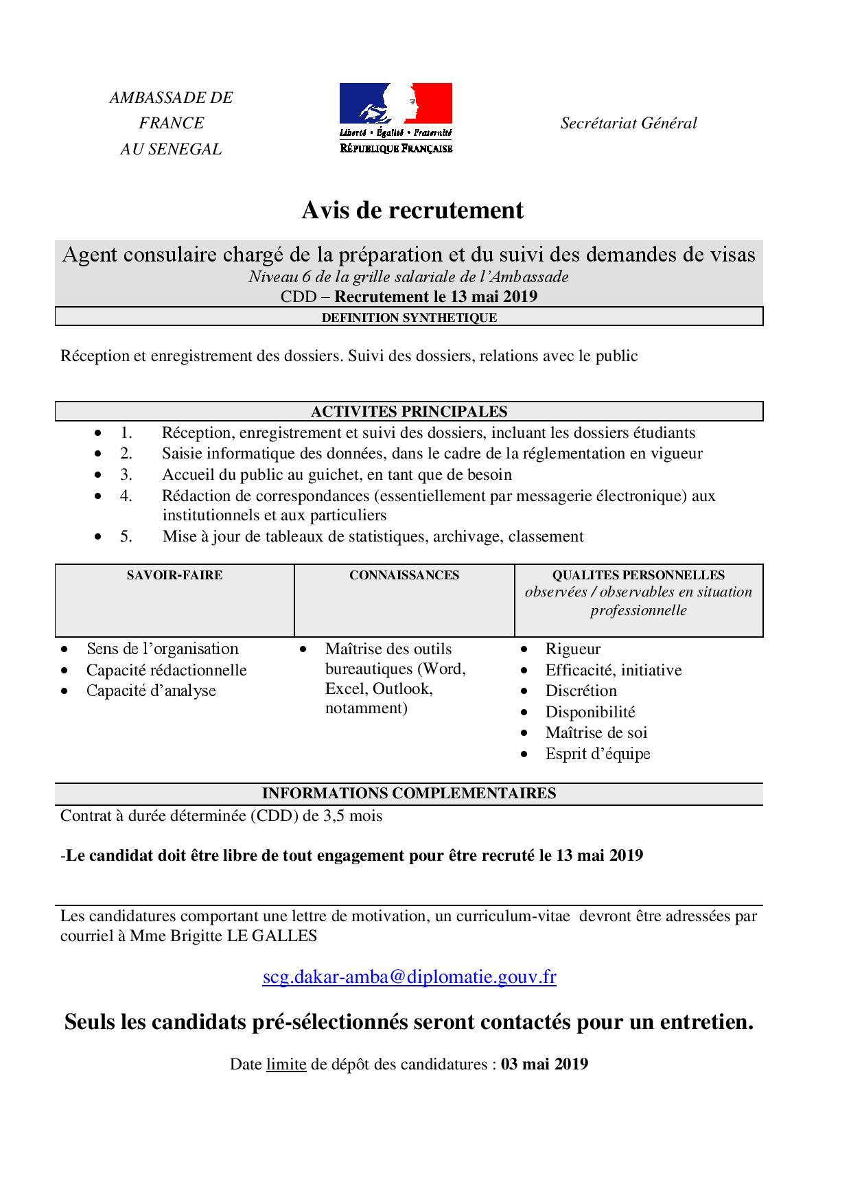 Avis de recrutement : Agent consulaire chargé de la préparation et du suivi des demandes de visas