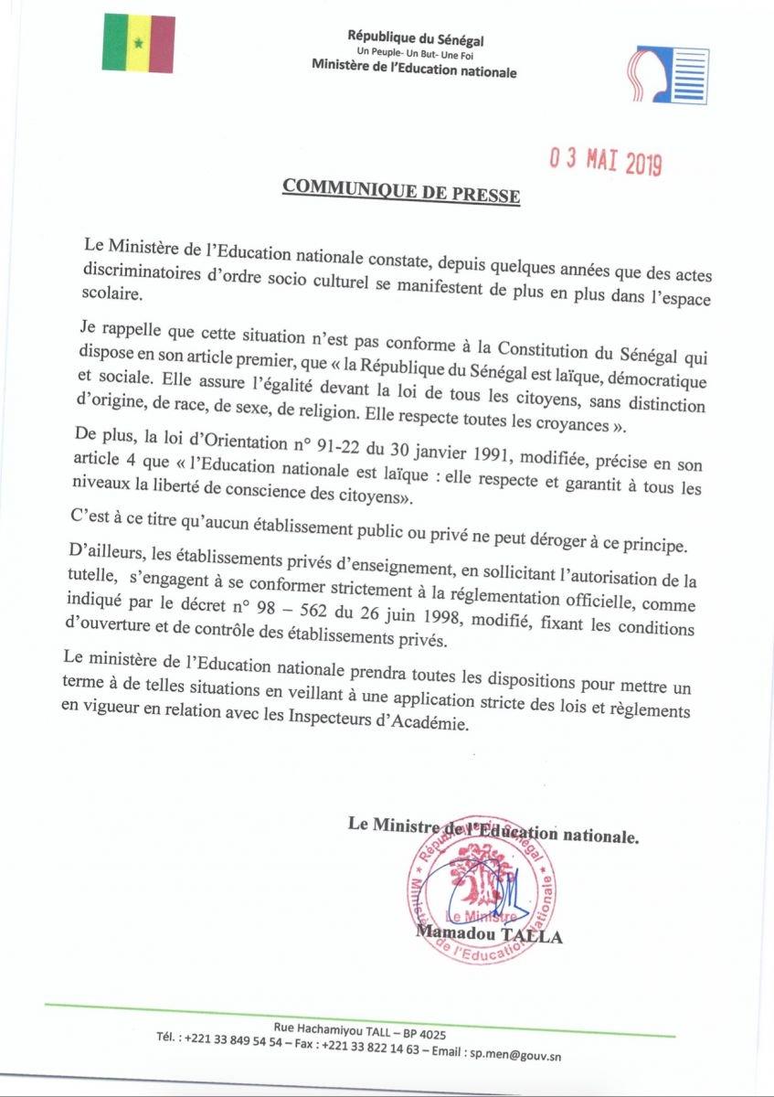 Interdiction du voile à Sainte Jeanne d'Arc : la position du ministère de l'Education nationale