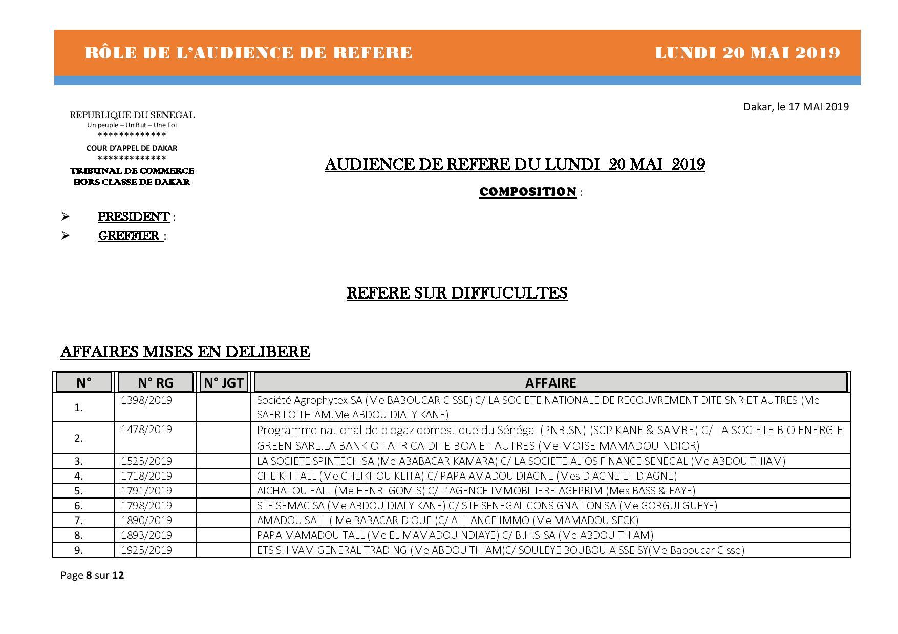 Rôle de l'audience de référé du Tribunal de Commerce hors classe de Dakar du 20 mai 2019