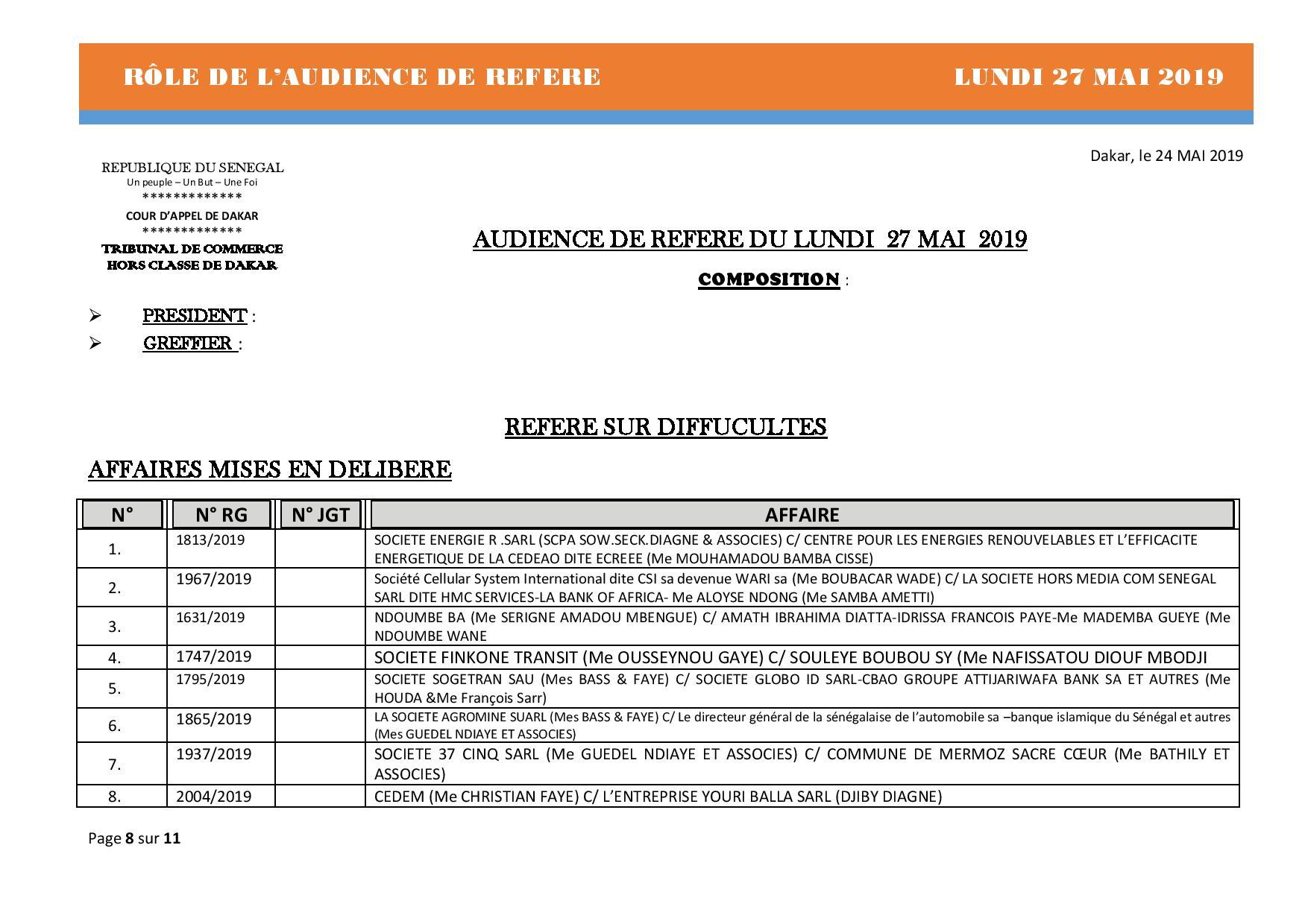 Rôle de l'audience de référé de ce lundi 27 mai 2019