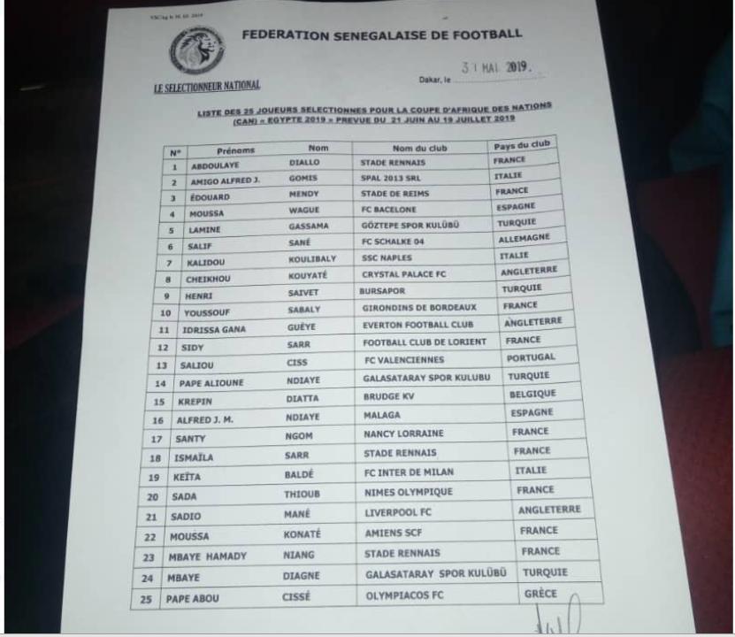 Can-2019 : Aliou Cissé publie une liste de 25 Lions, Kara Mbodji zappé