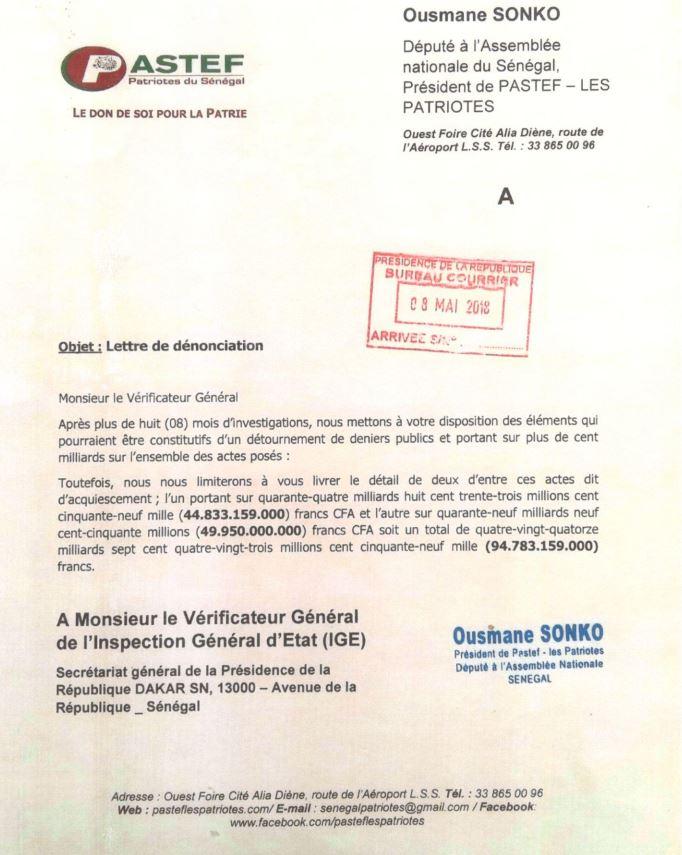 Affaire des 94 milliards - Ousmane Sonko: Les plaintes envoyées en fichiers joints !