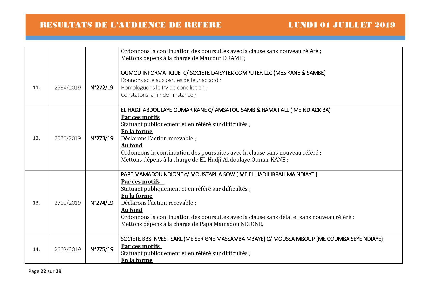 Délibérés Audiences des Référés du lundi 01 juillet 2019