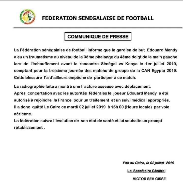 Can 2019- Equipe nationale: Edouard Mendy quitte définitivement la Tanière