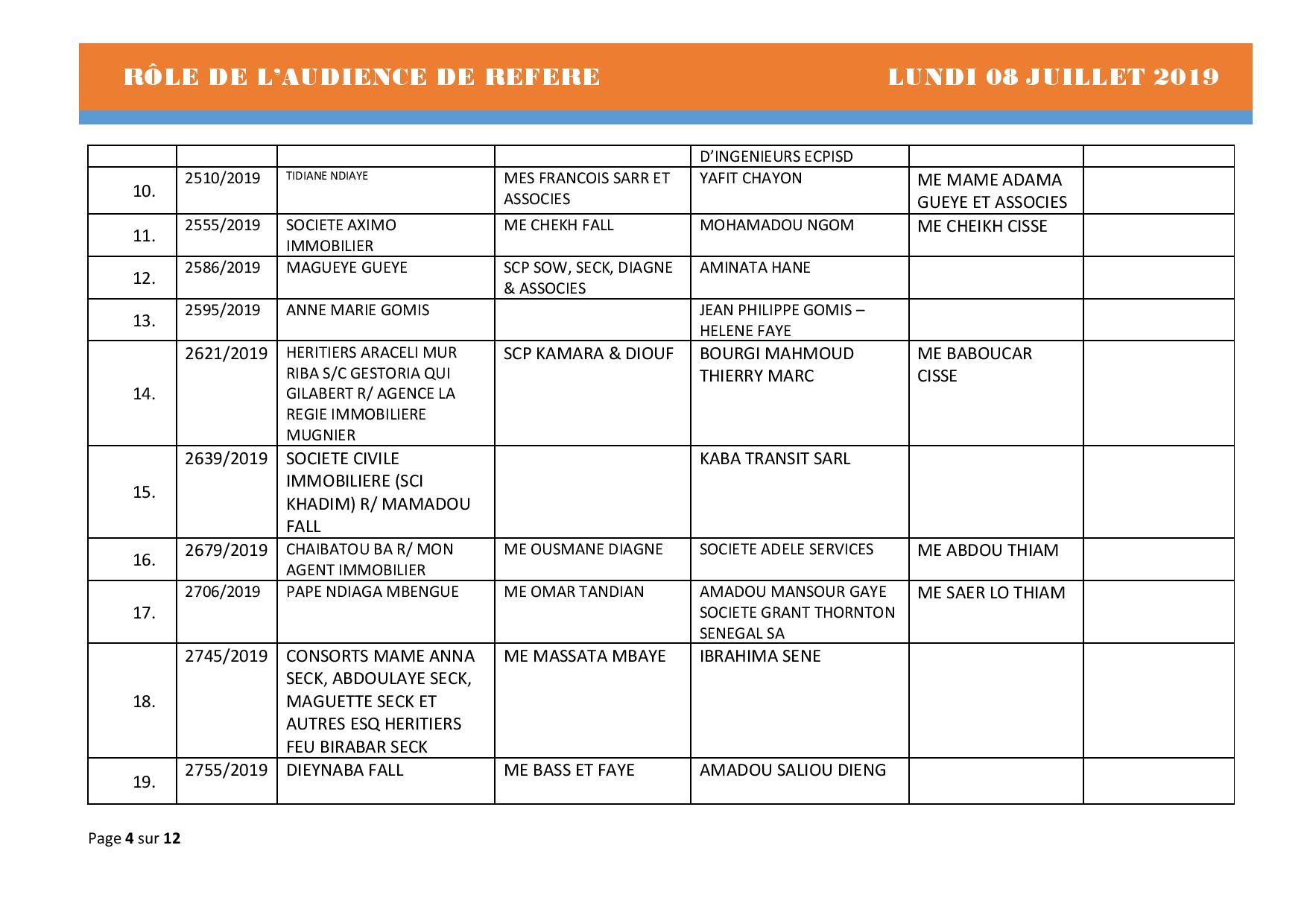 Tribunal du Commerce: Audiences des Référés de ce lundi 8 juillet 2019