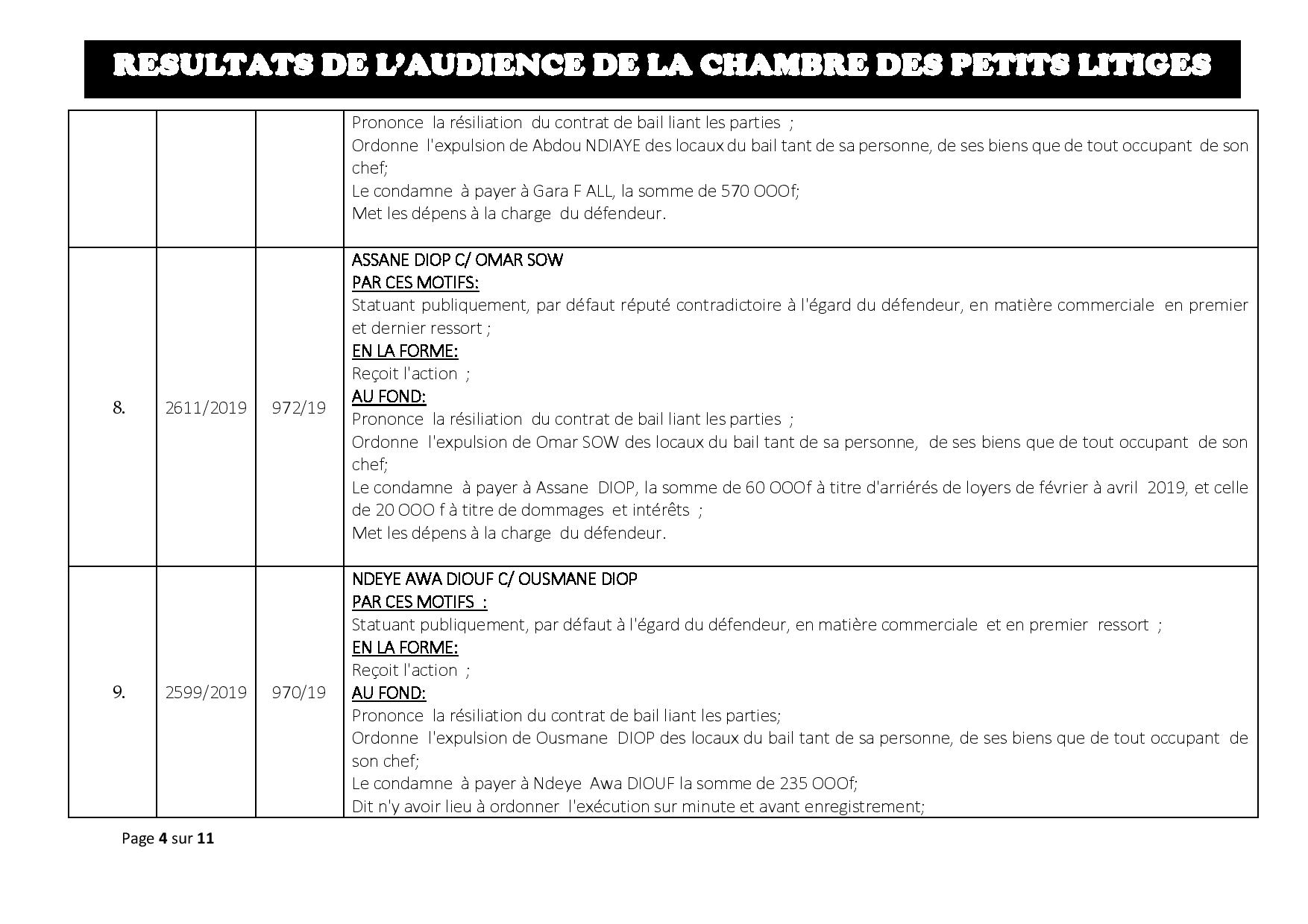 Tribunal du Commerce: Délibérés des Audiences du mardi 9 juillet 2019