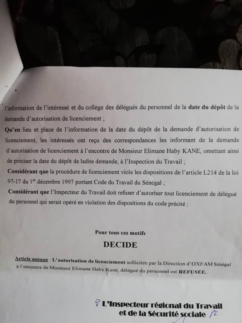 Contentieux Oxfam - Elimane Kane: L'Inspection du Travail rejette la demande d'autorisation de licenciement de l'employé