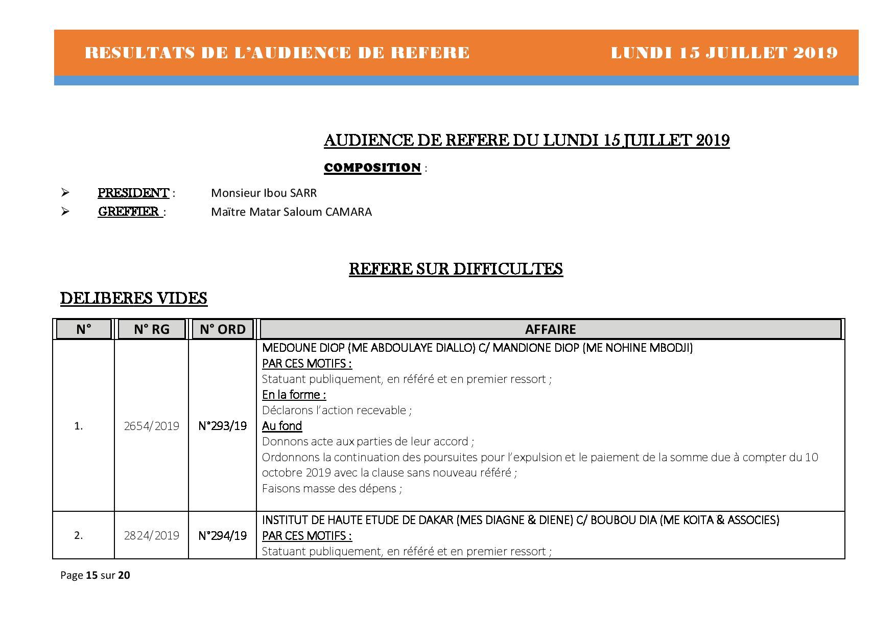 Tribunal du Commerce: Délibérés des Audiences du lundi 15 juillet 2019