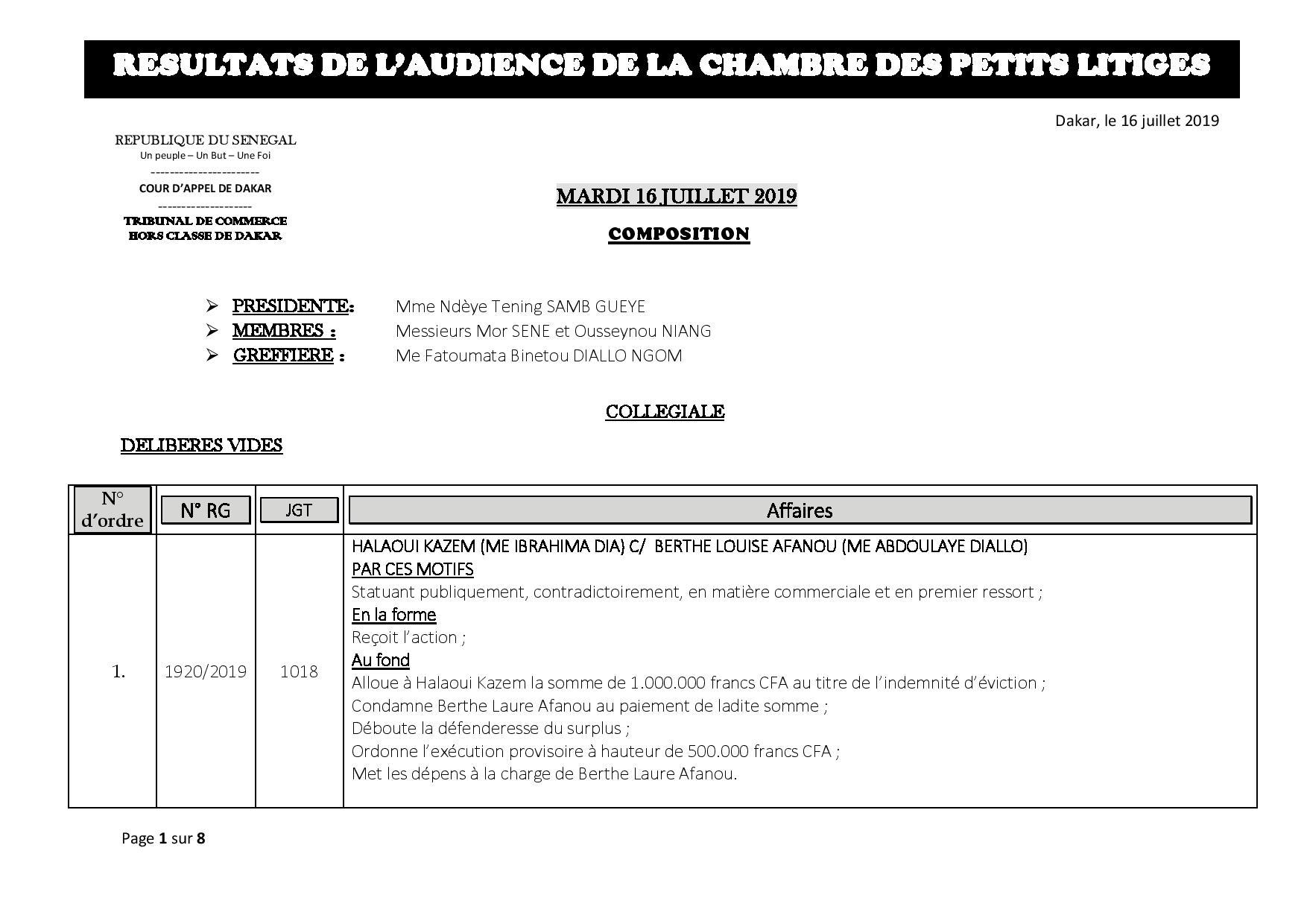 Tribunal du Commerce: Délibérés des Audiences du mardi 16 juillet 2019