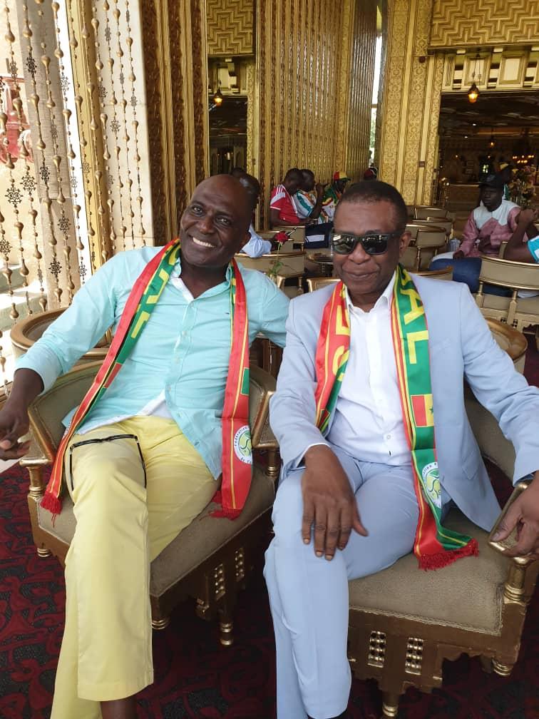 """PHOTOS - Youssou Ndour et le milliardaire Babacar Ngom au Caire pour supporter les """"Lions"""""""