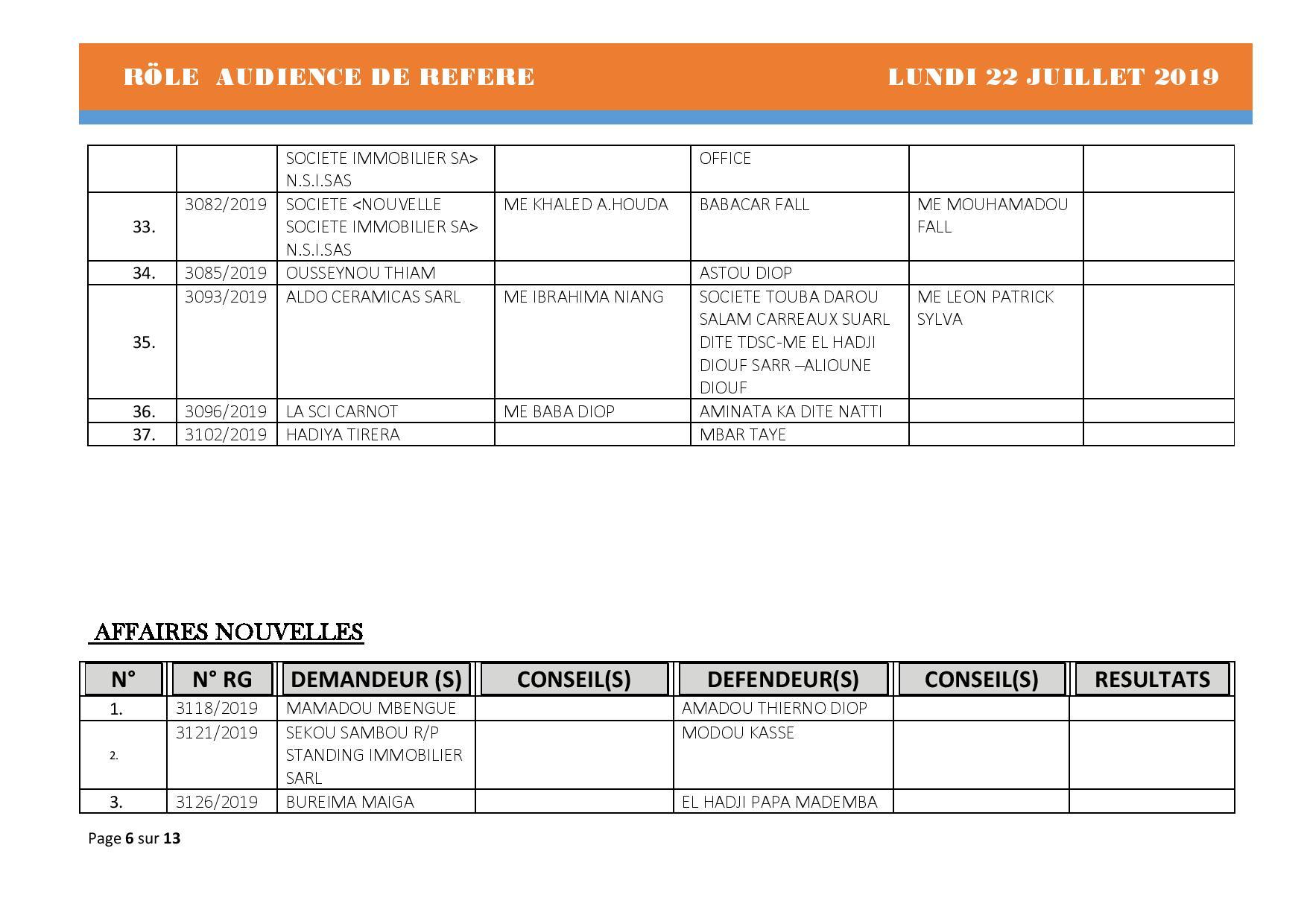 Tribunal du Commerce: Audiences des Référés de ce lundi 22 juillet 2019