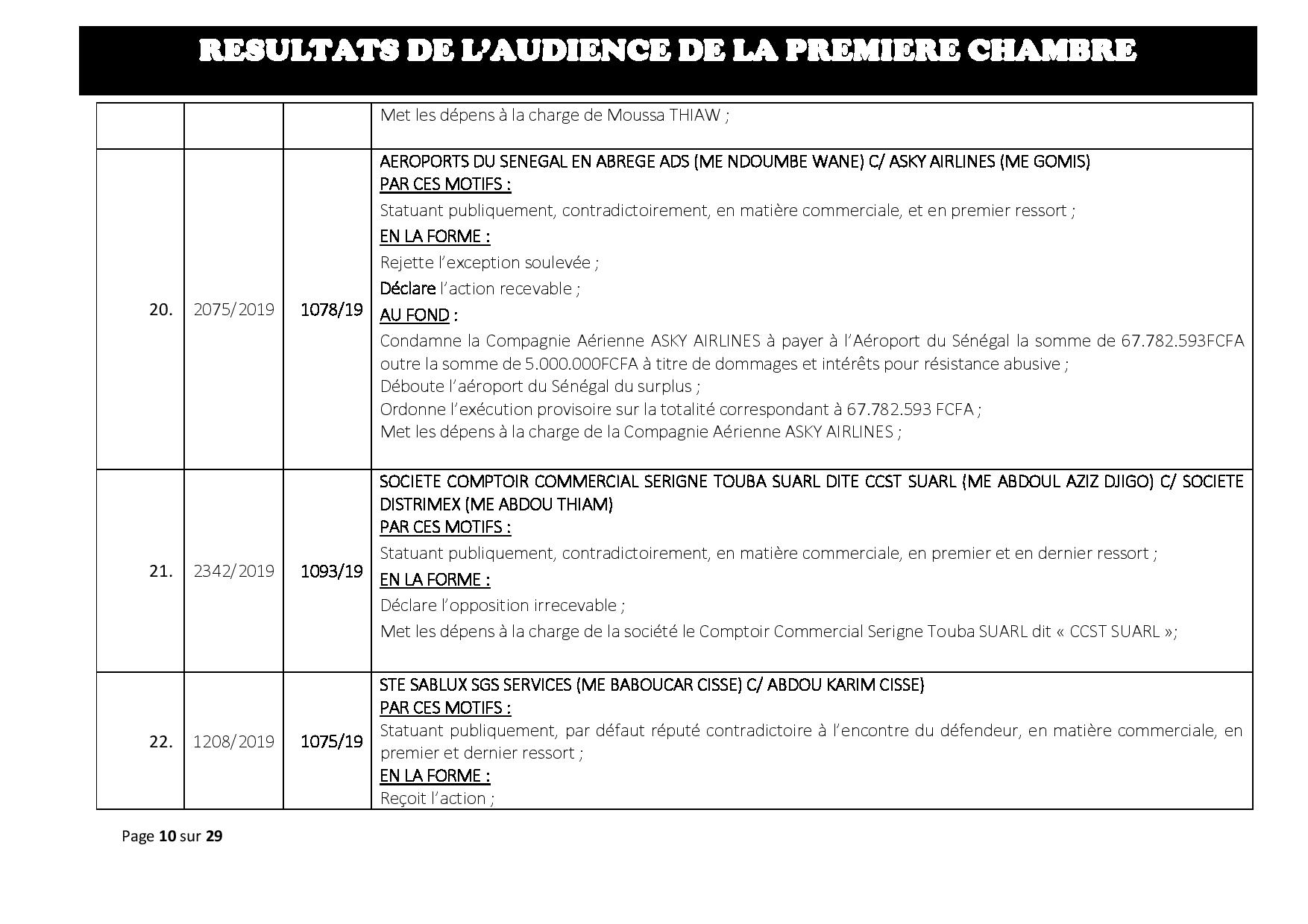 Tribunal du Commerce: Délibérés des Audiences du mercredi 24 juillet