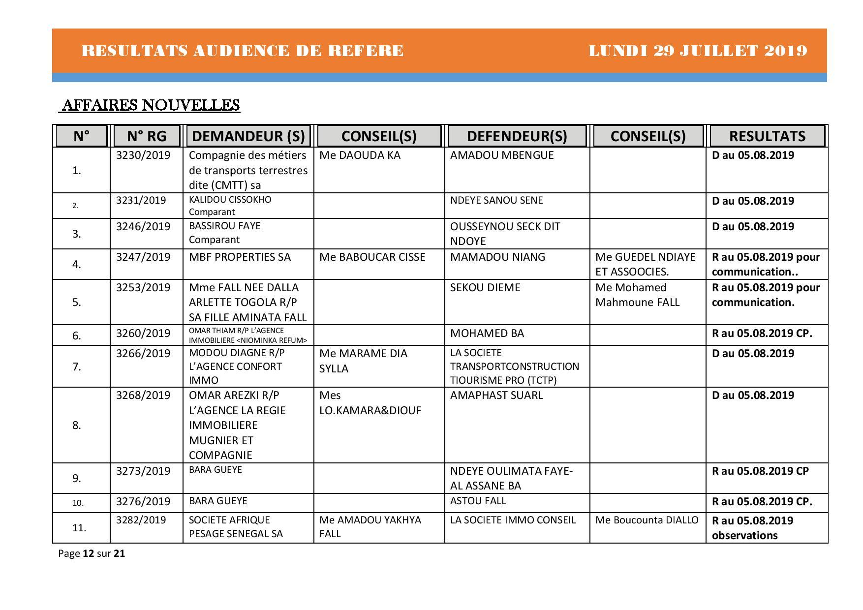 Tribunal du Commerce: Délibérés des Audiences du lundi 29 juillet 2019