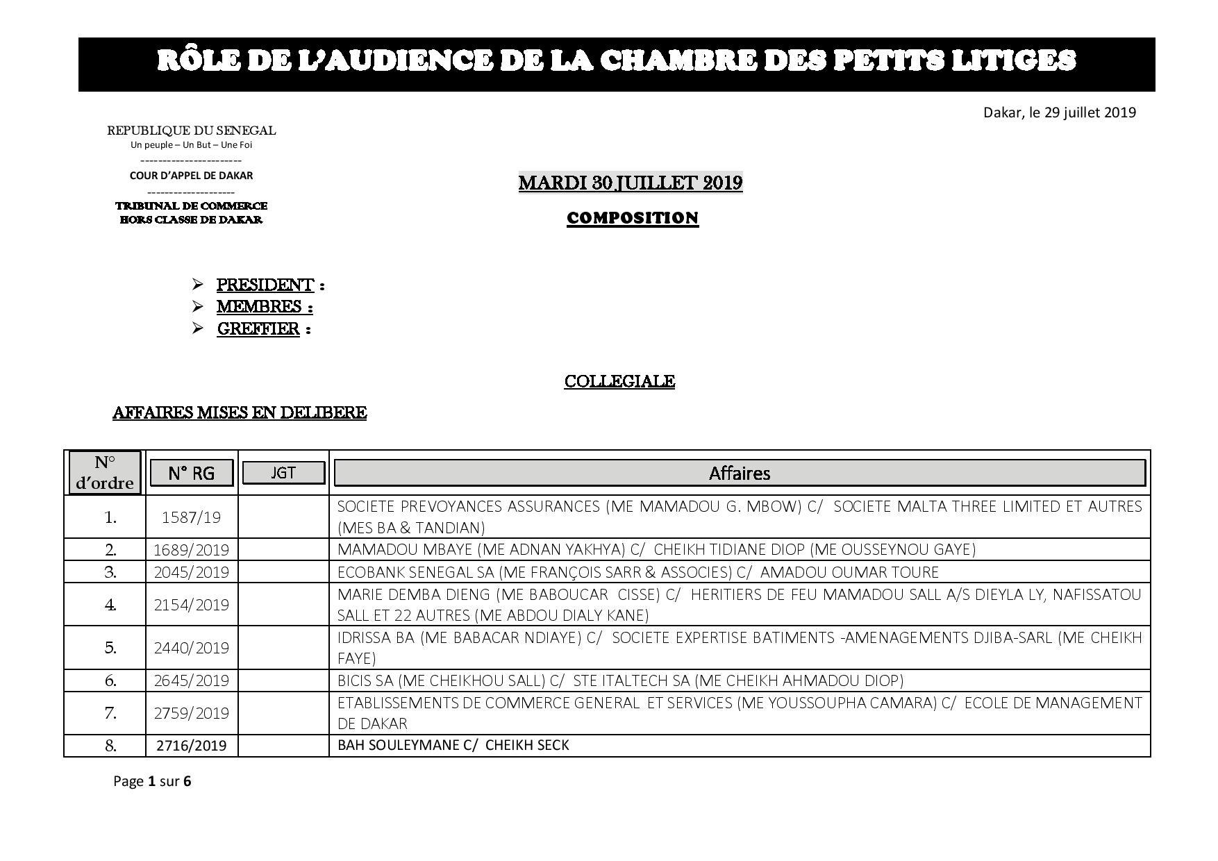 Tribunal du Commerce: Audiences de la Chambre des Petits Litiges de ce mardi 30 juillet